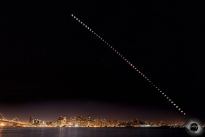 Total lunar eclipse above the skyline of San Francisco. Sequence taken with 4 minute intervals